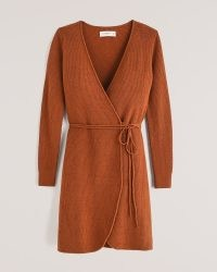 ABERCROMBIE & FITCH Long-Sleeve Wrap Mini Sweater Dress ~ soft knit cinnamon brown tie waist dresses