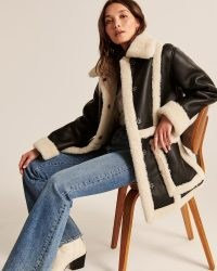 Abercrombie & Fitch Oversized Sherpa-Lined Vegan Leather Shearling Coat in Black ~ luxe style faux leather and faux fur winter coats