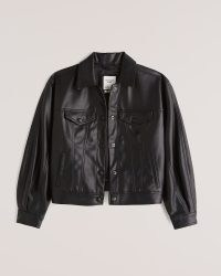 ABERCROMBIE & FITCH Relaxed Vegan Leather Trucker Jacket in Black – womens faux leather jackets