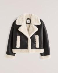 Abercrombie & Fitch Short Sherpa-Lined Vegan Leather Shearling Coat – faux fur winter coats