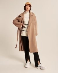 Abercrombie & Fitch Slouchy Belted Wool-Blend Dad Coat in Camel Brown ~ womens relaxed fit wrap style coats ~ womens neutral winter outerwear