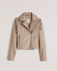 Abercrombie & Fitch Faux Leather Moto Jacket in Tan – women's zip detail jackets
