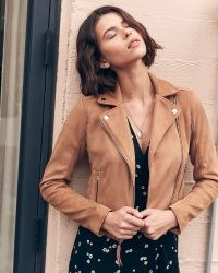Abercrombie & Fitch The Vegan Suede Moto Jacket in Brown – zip detail faux suede jackets