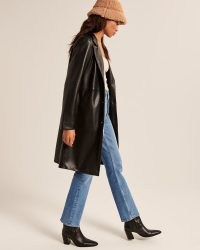 Abercrombie & Fitch Vegan Leather Dad Coat in Black – longline faux leather coats