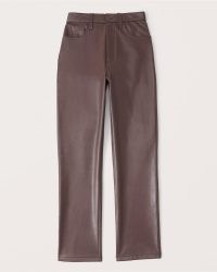 Abercrombie & Fitch Vegan Leather 90s Straight Pants in Dark Brown – womens high rise luxe style faux leather trousers
