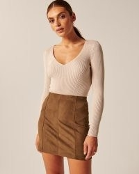 Abercrombie & Fitch Vegan Suede Mini Skirt in Brown / faux suede skirts