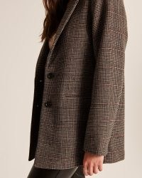 ABERCROMBIE & FITCH Wool-Blend Blazer Coat ~ womens on-trend checked blazers ~ women's fashionable brown check jackets