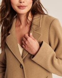 ABERCROMBIE & FITCH Wool-Blend Dad Coat in Light Brown ~ womens classic style winter coats