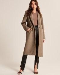 ABERCROMBIE & FITCH Wool-Blend Double Cloth Blanket Coat ~ womens light brown longline midi coats