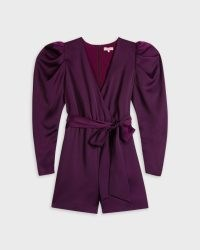 Ted Baker LIANNII Wrap Front Playsuit with Exaggerated Sleeve in Dark Purple | puff sleeve party playsuits