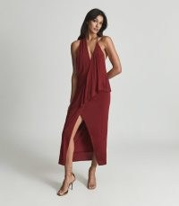 XENA STRAPPY OPEN BACK COCKTAIL DRESS DARK RED / glamorous occasionwear / open back plunge front party dresses / occasion fashion / evening glamour