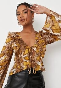 MISSGUIDED yellow snake print tie front chiffon blouse / floaty flared long sleeve ruffle trim blouses / animal print tops
